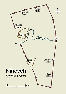 Simplified plan of ancient Nineveh showing city wall and location of gateways
