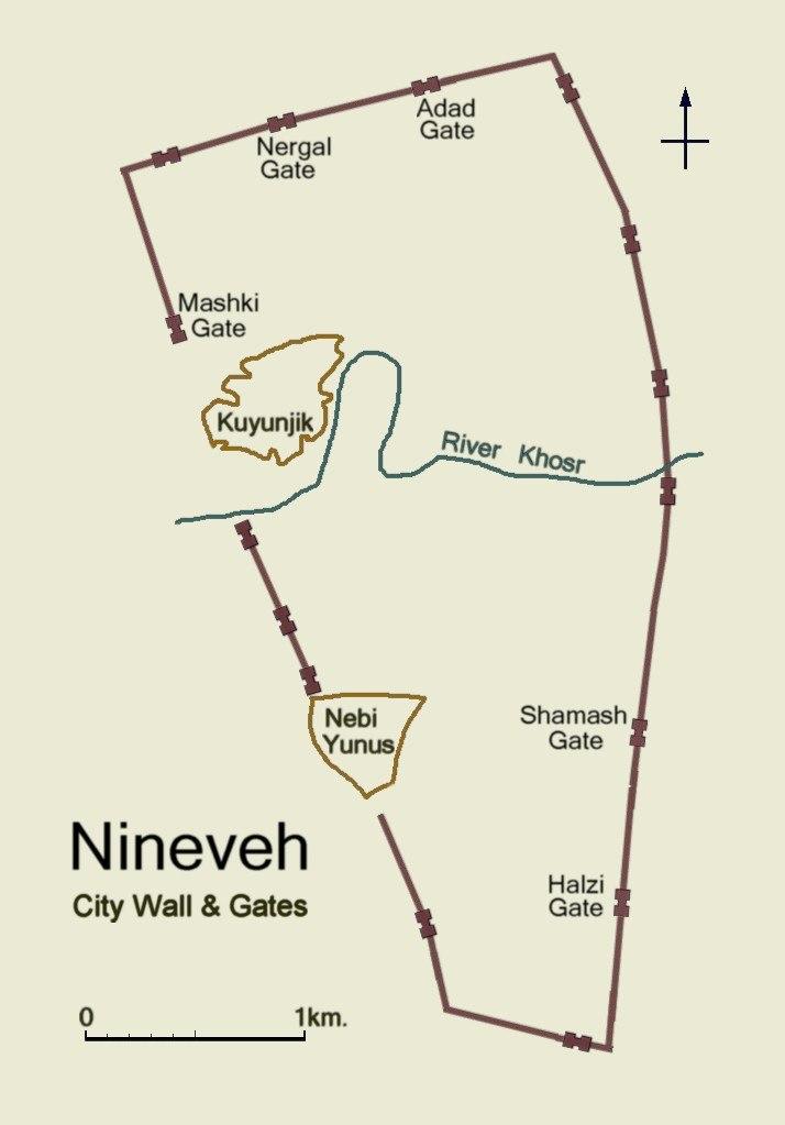 Nineveh map city walls & gates