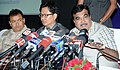 Nitin Gadkari addressing a press conference after completing his three day visit to Arunachal Pradesh, Assam and Meghalaya, in Guwahati, Assam. The Minister of State for Home Affairs, Shri Kiren Rijiju is also seen.jpg