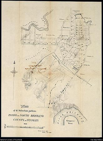 Fortitude Valley, Queensland - 19th century cadastral map showing land plots for sale in Fortitude Valley.