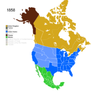 Map showing Non-Native American Nations Control over N America c. 1858