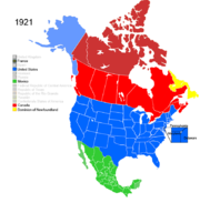 Map showing Non-Native American Nations Control over N America March 28, 1921