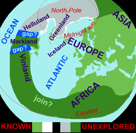 "Based on the medieval Islendingasogur sagas, including the Groenlendinga saga, this interpretative map of the ""Norse World"" shows that Norse knowledge of the Americas and the Atlantic remained limited. Norse-world.png"