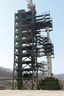 North Korean Unha-3 rocket at launch pad