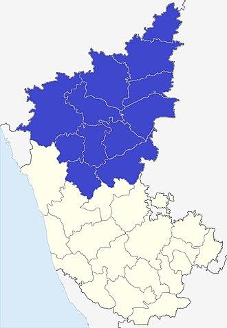 North Karnataka - North Karnataka region shown in blue