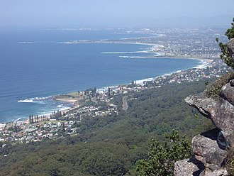 Austinmer, New South Wales - Lookout from the Illawarra Escarpment above Wombarra over the northern Illawarra plain viewing Austinmer in the foreground, Thirroul, Bulli, Wollongong up to Port Kembla in the far distance.