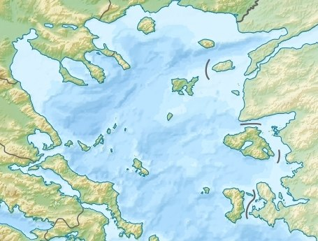 Northern Aegean relief location map