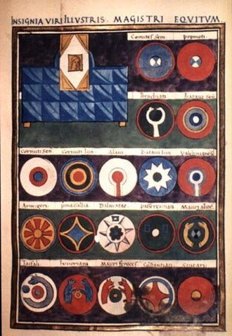Taifals - A page of the Insignia viri illustris magistri Equitum from manuscript Canon. Misc. 378 of Notitia Dignitatum, since 1817 in the Bodleian Library