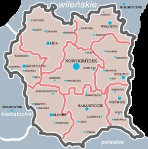 Nowogródek Voivodeship (1919–1939) - Map of Nowogródek Voivodeship