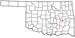 Location of Indianola, Oklahoma