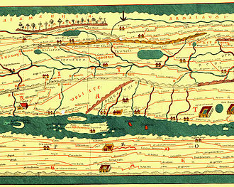 Cisalpine Gaul - Detail of the Tabula Peutingeriana showing northern Italy between Augusta Pretoria (Aosta) and Placentia (Piacenza); the Insubres are marked as inhabiting the Po Valley upstream of Ticeno (Pavia) and downstream of the Trumpli and Mesiates which occupy the upper reaches of the Sesia and Agogna rivers.