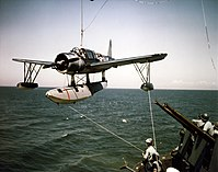 OS2U is hoisted aboard USS Missouri (BB-53) in 1944.jpg