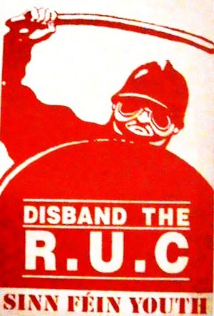 Royal Ulster Constabulary - An Ógra Shinn Féin propaganda sticker calling for the RUC to be disbanded