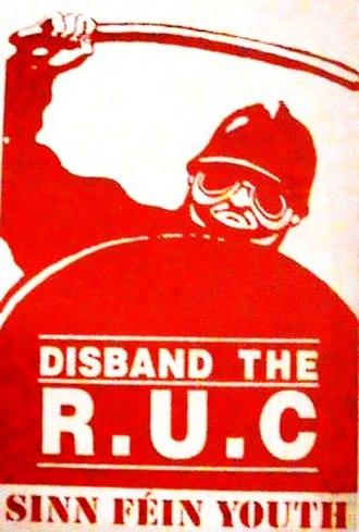 Royal Ulster Constabulary - An Ógra Shinn Féin propaganda sticker calling for the RUC to be disbanded