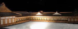 Matsu no Ōrōka - 1:30 scale architectural model of the Matsu no Ōrōka (middle) that connected the Shiroshoin and Ōhiroma (Edo-Tokyo Museum)