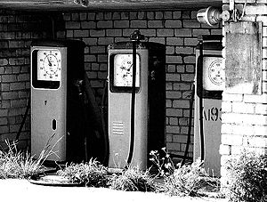 Old gas pumps from Soviet Union.