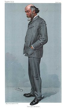 "Karikaturo de Oliver Joseph Lodge, in ""Vanity Fair"" 1904"