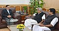 Oommen Chandy calling on the Union Minister for Health & Family Welfare, Shri J.P. Nadda, in New Delhi on December 11, 2015. The Health Minister of Kerala, Shri V. S. Sivakumar is also seen.jpg