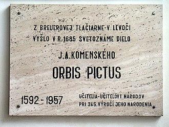 Orbis Pictus - Plaque commemorating the publication of Orbis Pictus in Levoča