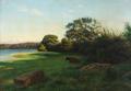 Otto P. Balle - Aftensolen strejfer Egetræer ved Tjustrup Sø - 1897.png