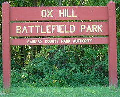 Sign for Ox Hill Battlefield Park