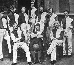 1877 FA Cup Final - Oxford University players of the 1876–77 season. Six of the players photographed played in the cup final
