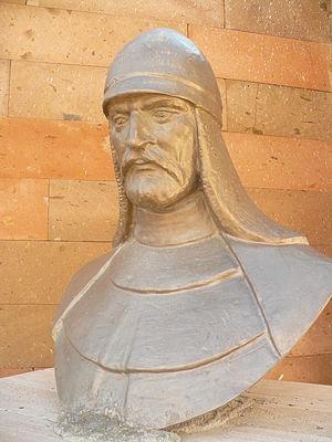 "Alp-Tegin - Bust of Alp Tegin as one of the founders of the ""16 Great Turkic Empires"", part of the ""Turkishness Monument"" (Türklük Anıtı) in Pınarbaşı, Kayseri (opened 2000, 2012 photograph)."