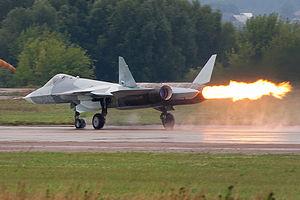Compressor stall - Sukhoi Su-57 prototype suffering a compressor stall at MAKS 2011.
