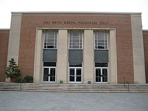 Phi Beta Kappa Society - Present day Phi Beta Kappa Memorial Hall entrance at The College of William & Mary.
