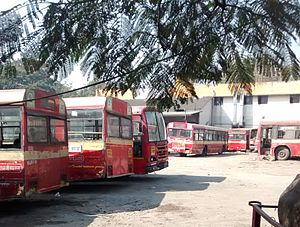 Bus garage - PMPML buses at the Market Yard depot, Pune, India