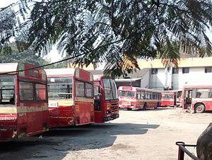 Bus garage - PMPML buses at the Market Yard depot, Pune, India