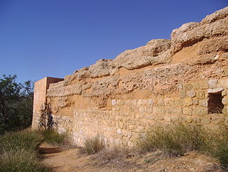Rammed earth - Taipa fortifications at Paderne Castle in the Algarve, Portugal