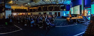 QED (conference) - Panorama photo of the main stage in the Mercure Piccadilly Hotel during QED 2013.