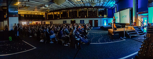 A panorama photo taken in the Richard Dawkins Foundation room on the first day of the QED: Question, Explore, Discover conference on Saturday 13 April 2013