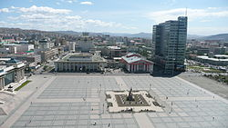 Panorama of Sukhbaatar Square looking east