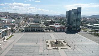 Sükhbaatar Square - Panorama of Sükhbaatar Square looking east
