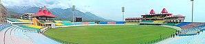 Himachal Pradesh Cricket Association Stadium - Image: Panorama of dharamshala stadium,himachal pradesh