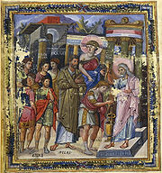 The Anointing of David, from the Paris Psalter, 10th century (Bibliotheque Nationale, Paris).