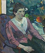 Paul Gauguin - Woman in front of a Still Life by Cézanne - 1925.753 - Art Institute of Chicago.jpg