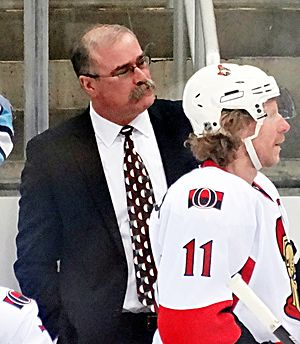 Paul MacLean (ice hockey) - MacLean (left) with Ottawa Senators' captain Daniel Alfredsson during the 2013 playoffs.