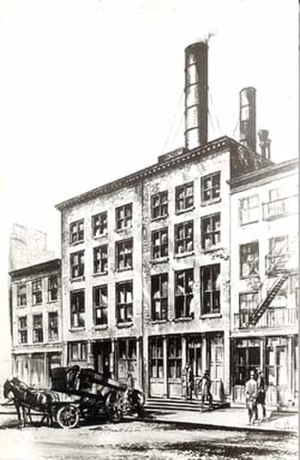 Consolidated Edison - A sketch of an early power plant on Pearl Street