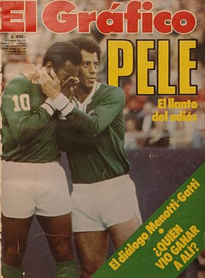 New York Cosmos (1970–85) - Pelé crying while teammate Carlos Alberto consoles him, at the end of his speech during Pelé's farewell match, October 1977.