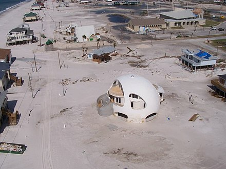 A monolithic dome in Pensacola Beach, Florida, after Hurricane Dennis in 2005 Pensacola Beach, Florida after Hurricane Dennis in 2005.jpg
