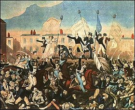Print of the Peterloo Massacre published by Richard Carlile
