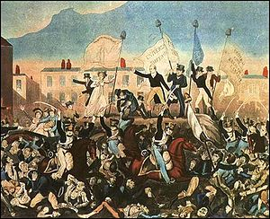Richard Carlile - Print of the Peterloo Massacre published by Richard Carlile