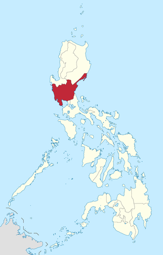 Hukbalahap Rebellion - The red area on the map is Central Luzon, the main geographical area where the Huks are located. Manila is a few hours' drive to the south.
