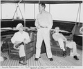 Photograph taken during the vacation cruise of President Harry S. Truman to Bermuda. L to R, President Truman... - NARA - 198636.tif