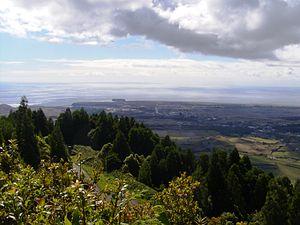 Vila do Porto - From Pico Alto, the view of the main settlement of the island of Santa Maria, the community of Vila do Porto