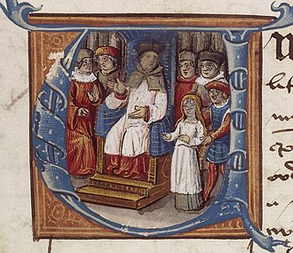 The Triumph of St. Joan - Manuscript portrait of Bishop Pierre Cauchon at the trial of Joan of Arc