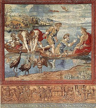 Vatican Hill - Vatican Hill (top left corner) in The Miraculous Draught of Fishes (1519), from the Acts of the Apostles tapestry series by the Flemish workshop of Pieter van Endigen Aelst, based on Raphael